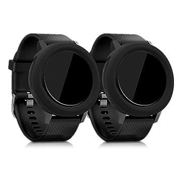 kwmobile 2 Fundas para Garmin Vivoactive 3 - Cubierta para Monitor de Actividad de Silicona - Case Negro/Negro