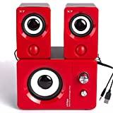 HTRise USB Powered Computer Speakers System (X7 Red) for Gaming/Music/Movies, Active Multimedia Stereo Subwoofer for Laptop/Desktop/Lenovo/HP/ThinkPad/IBM/DELL/SONY/MACFEE/SAMSUNG/ACER/Microsoft/PC