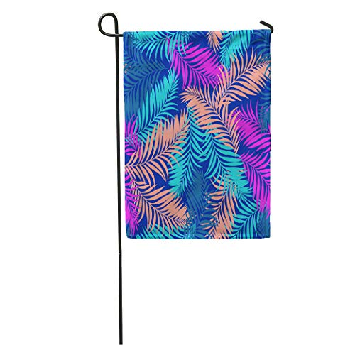 - Semtomn Garden Flag Blue Summer Palm Pattern Tropical for Pink Beach Tree Leaf Home Yard House Decor Barnner Outdoor Stand 28x40 Inches Flag