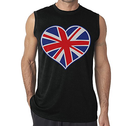 Aoxinquji Cute Y British Flag Heart. Men's Casual Sexy Sleeveless T-Shirt XL Black