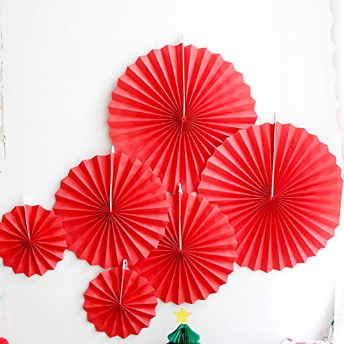 LG-Free 12pcs Red Party Fan Tissue Paper Fan Round Folding Fans Wall Hanging Fan Fiesta Wedding Birthday Kids Supplies for Christmas Tree Home Decorations, Party, Wedding (Red)