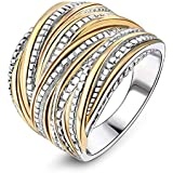 Mytys 2 Tone Gold and Silver Intertwined Statement Rings Fashion Band Ring 18mm Wide (9)