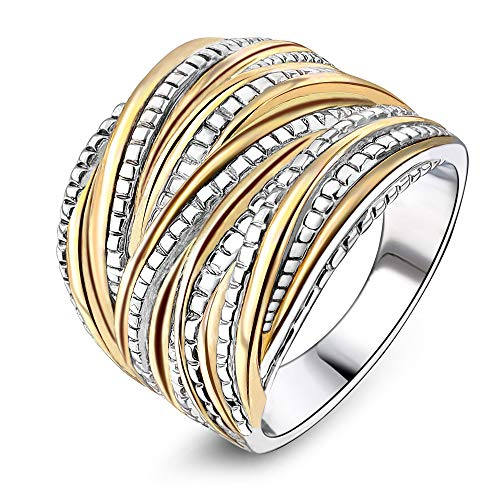 Mytys 2 Tone Intertwined Crossover Statement Ring Wedding Bands Ring Women Men Gold Silver Plated Enhancers Ring 18mm Wide