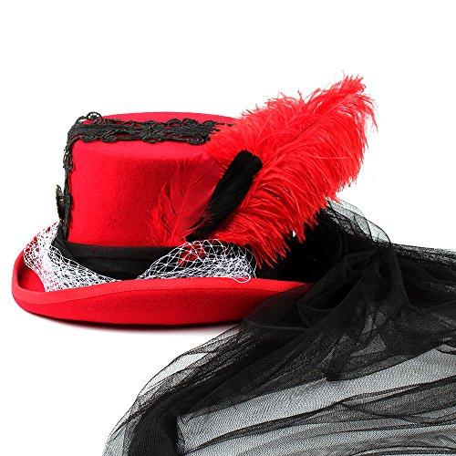 color Variedad Victorian 1 Y 1 Cinta Tamaño Gótico Estilos Rojo Cuervo La Wf Store 61cm Boda De Personalidad Negro Creativo Cordón Una Sombrero Del IATRHxq