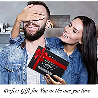 Upgraded Beard Care Grooming Kit with Shampoo Wash, Conditioner, Oil, Balm Softener, Comb, Brush, Scissors, Trimming Template, Perfect Set Gifts for Men Him Boyfriend Dad for Beard Growth & Daily Care