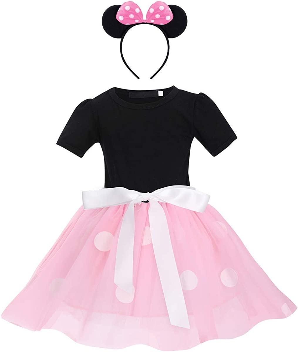 Mouse Ears Headband Princess Cosplay Birthday Party Fancy Dress Up Outfit Toddler Infant Christmas Halloween Carnival Pageant Clothes Photo Shoot for Kid Minnie Costume Baby Girls Polka Dots Dresses