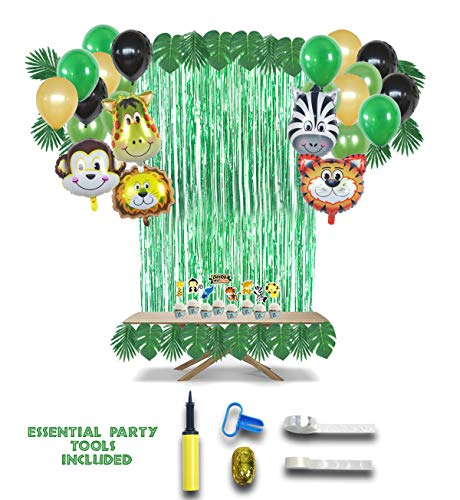 Jungle Safari Woodland Theme Party Decorations 78pcs, Zoo Animal Balloon Party Supplies and Cup Cake Toppers with Air Pump and Favors for Kids Boys Girls Birthday Baby Shower Office Party Decor by Easi Party Supplies]()