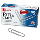 Wholesale CASE of 10 - ACCO Jumbo Gem Clips-Gem Clips,No 4,Jumbo Size,.050 Wire Gauge,100/PK,Silver