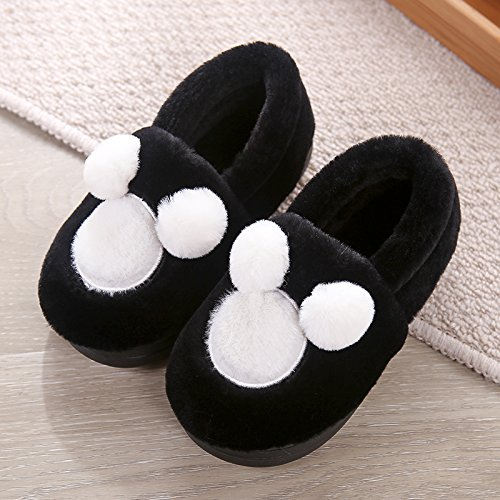 Y-Hui amantes de invierno zapatillas de algodón bolso con vello femenino Bola inferior suave, a prueba de deslizamiento inferior grueso Invierno Hombre Interior Inicio Black child