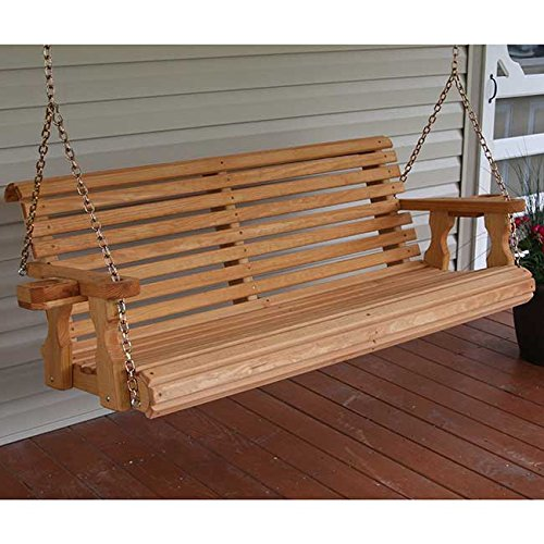 Amazon.com : Amish Heavy Duty 800 Lb Roll Back 5ft. Treated Porch Swing  With Cupholders   Cedar Stain : Garden U0026 Outdoor