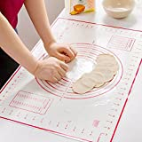 dough roll mat - Silicone Pastry Mat with Measurements Non-Slip Silicone Perfect for Rolling Dough 24'' x 16'' (Red)