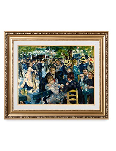 1877 Canvas Framed (DecorArts - Bal du moulin de la Galette, Pierre-Auguste Renoir Classic Art. Giclee Prints Framed Art for Wall Decor. Framed size: 36x30