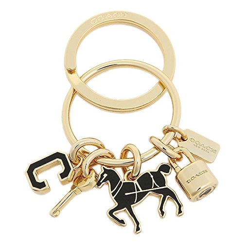 Coach Logo Key Horse Padlock Gold Black Key Fob Purse Cha...