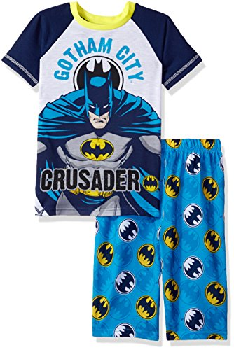 (DC Comics Boys' Little 2pc Set Sleeve Shirt, and Pajama Short, Blue 8)