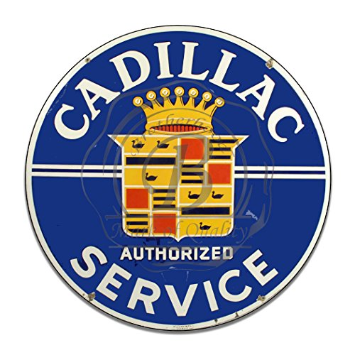 Brotherhood Cadillac Authorized Service Car Company Emblem Seal Vintage Gas Signs Reproduction Car Company Vintage Style Metal Signs Round Metal Tin Aluminum Sign Garage Home Decor