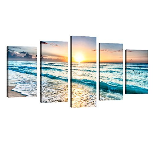 hafeez-center-decor-art-5-panels-modern-artwork-framed-wall-art-blue-sea-waves-white-beach-with-suns