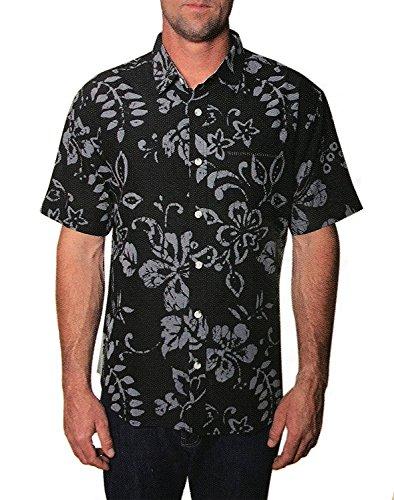 Seapointe Men's Button Down Hawaiian Shirt (Black, - Day Trip Floral Shirt