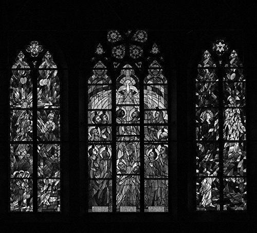 (24 x 36 B&W Giclee Print Three grouped Stained-Glass Windows at St. Matthew's Episcopal Church in Wheeling, West Virginia 2015 Highsmith 05a)