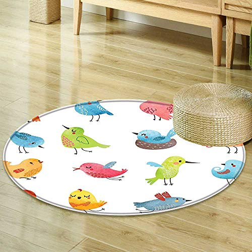 Mikihome Non Slip Round Rugs Animal Decor Colorful Cute Birds Watercolor Effect Humor Funny Mascots Paint Brush Art Kids Design Multi Decor Oriental Floor and Carpets R-35 -  FS-YDT-42361R-90