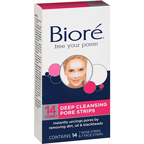 Biore Combo Pack Deep Cleansing Pore Strips Face/Nose 14 Each (Pack of 6) by Bioré