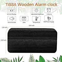 Queta LED Reloj Despertador Reloj de Madera Reloj Digital Despertador Oficina Fecha Temperatura Pantalla Humedad 12/24 Horas (Negro)