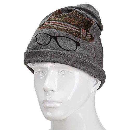 Orgrim Fashion Winter Classic Flower Print Beanie Ski Hat Neck Warmer 2 in 1 Hat Neck Wrap Cap (Dark - Hut Ny