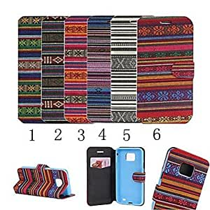 HP Colorful Stripe Style PU Leather Full Body Case with Stand and Card Slot for Samsung Galaxy S2 I9100 (Assorted Colors) , 2#