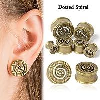 suchadaluckyshop TRIBAL SUNBURST ANTIQUED BRASS-FLESH TUNNELS-Ear Gauges-Ear Plugs-EAR TUNNEL (20mm/3/4)