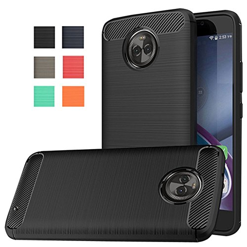 Moto X4 Case, Dretal [Shock Resistant] Flexible Soft TPU Brushed Anti-fingerprint Full-body Protective Case Cover For Motorola Moto X4 (2017) (Black)