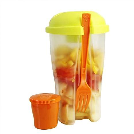Recipiente para ensalada con tenedores, portátil, para picnic, verduras, frutas, ensaladas