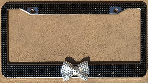 Toned Crystal Rhinestone (7 Rows of Black Premium Quality Crystal Glass Rhinestones, Clear Bling Bow, Woman Car Accessory (Black w/)