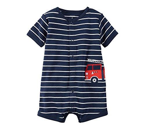 Carter's Baby Boys' Firetruck Snap Up Romper Newborn