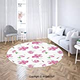 Printed Soft Boys and Girls Round Area Rug Hibiscus Flowers on Plain Background Floral Patterns Country Style Home Decor Soft Living Dining Room Area Rug