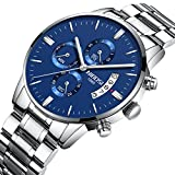 NIBOSI Men's Watches Chronograph Waterproof Military Quartz Luxury Wristwatches For Men Stainless Steel Band Blue Color 2309-GKLMgd