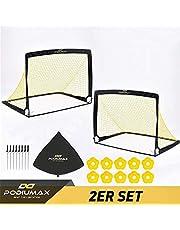 PodiuMax Pop up 2er Football Goals | with 10 Disc Cones & Carry Bag | Protable for Garden, Indoor, Outdoor | Training, Practice Goals