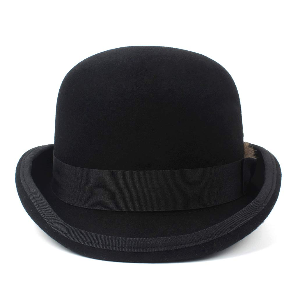 LL Men's 100% Wool Bowler Hat Cowboy Fashion Equestrian Cap Women Party Fashion Black Brown Adjust Hat (Color : Black, Size : 61cm) by LL (Image #3)