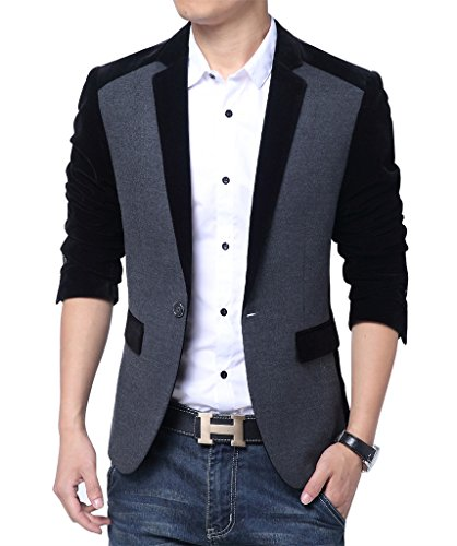 MOGU Men's 1 Button Center Vent Wool Blend Patchwork Blazer Jacket US Size 42(Tag Asian Size 5XL) Black