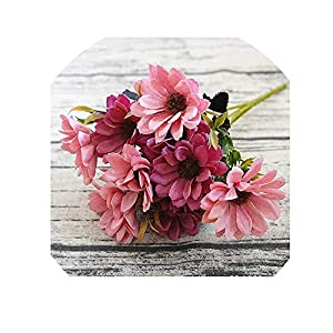 Silk Daisy Bride Bouquet for Christmas Home Wedding New Year Decoration Fake Plants Sunflower Artificial Flowers,Rose Pink 6