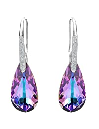 EleQueen 925 Sterling Silver CZ Teardrop Hook Earrings Adorned with Swarovski® Crystals