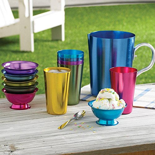 Aluminum Ice Cream Dessert Bowls (Set of 6 Bowls) – Retro Jewel-tone Colors 51fD6E8lxqL