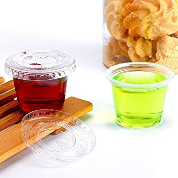 TashiBox 200 Sets - 1 Ounce Jello Shot Cups with Lids, Plastic Souffle Portion Cups with Lids, Clear