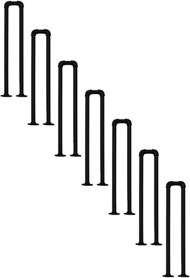 YJX Pasamanos en Forma de U Pasador Antideslizante de Metal Pasillo de transición Varilla de Soporte Barandilla Negra Mate Tubo galvanizado