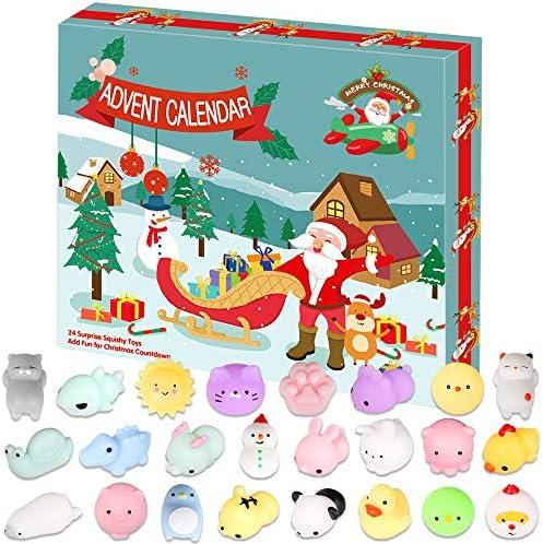 [해외]LetsFunny Advent Calendar Squishy Toy 2019 Christmas Countdown Calendar for Girls and Boys Kids Adults 24Pcs Different Mochi Squishy Animals Toys Include Snowman and Santa Avatar / LetsFunny Advent Calendar Squishy Toy 2019 Christm...