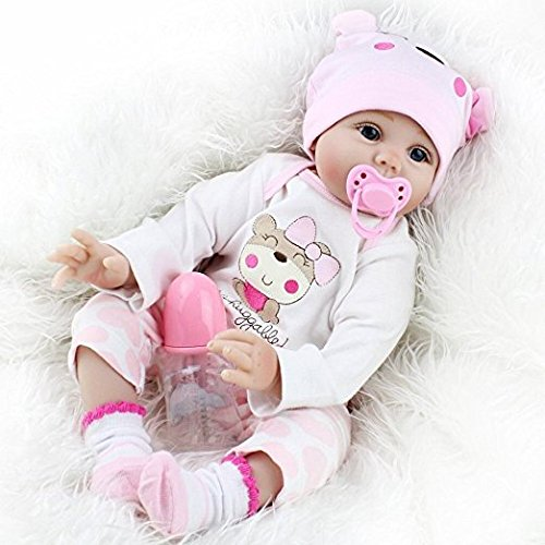 Seedollia Real Life Reborn Baby Doll Girl Silicone Open Blue Eyes Newborn 22 inch Pink Cute Bear Outfit from Seedollia