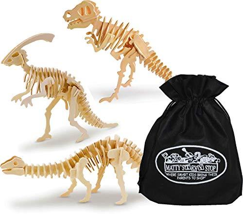 Toysmith 3D Dinosaur Wood Puzzle Kits T-Rex, Brontosaurus & Parasaurolophus Gift Set Bundle with Bonus Matty's Toy Stop Storage Bag - 3 Pack