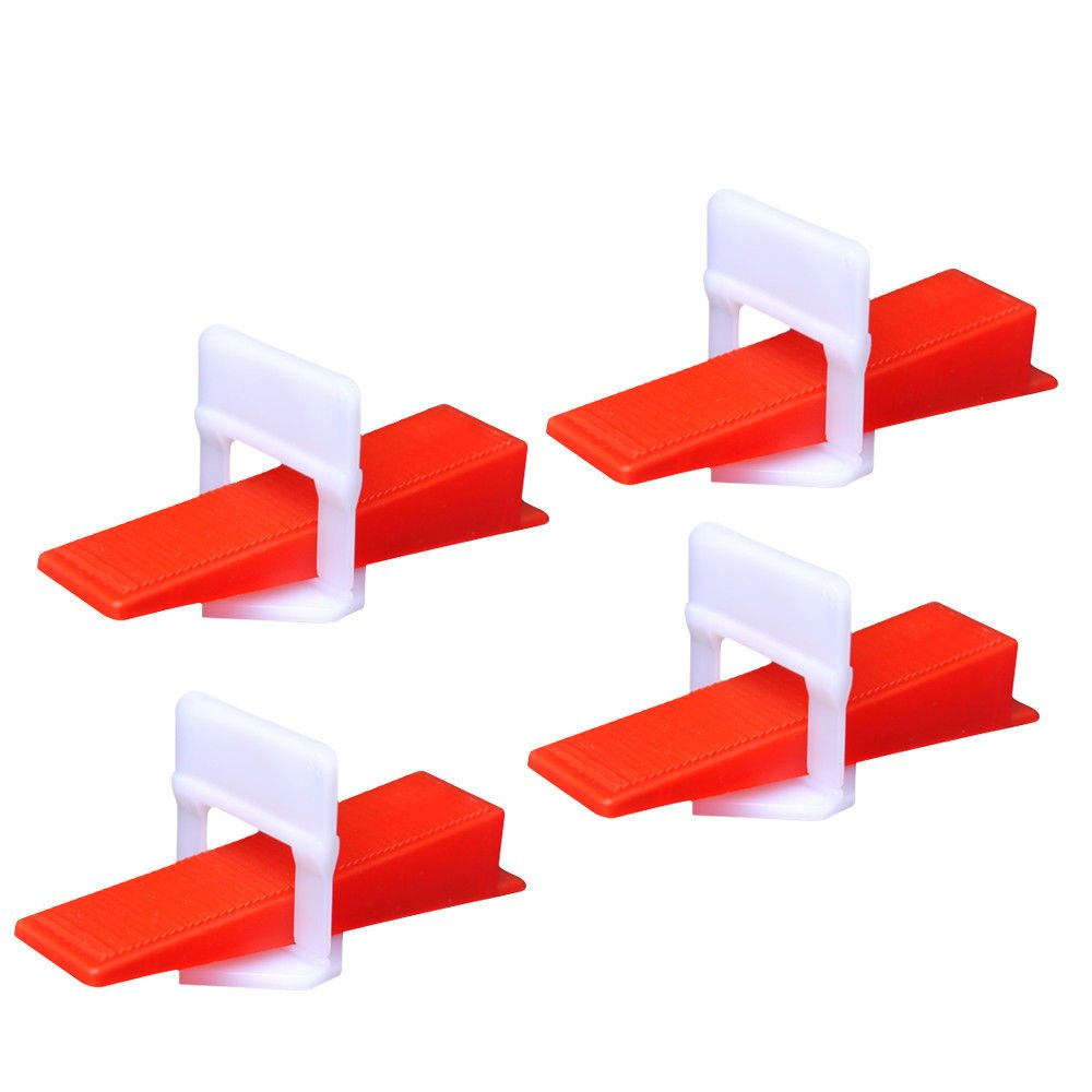 Tdogs 300/400pcs Tile Flat Leveling System Floor Wall Spacers Clips Device Wedges Tool (400 Red)
