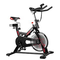 【Stability】The sturdy triangular steel frame,40 lbs chromed flywheel,and 330 maximum user weight give this indoor cycling bike a rock solid build. and the stabilizers-keep the cycle bike steady on uneven surfaces with its adjustable ground le...