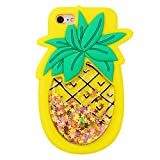 Quicksand Pineapple Case for iPhone 5 5S SE 5C,Soft Cute Silicone 3D Cartoon Fruit Food Cover,Shockproof Vivid Color Kids Girls Boys Bling Glitter Rubber Kawaii Character Fashion Cases for iPhone 5