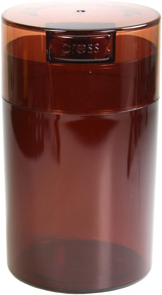 Tightvac - 1 oz to 6 ounce Airtight Multi-Use Vacuum Seal Portable Storage Container for Dry Goods, Food, and Herbs - Coffee Tint Cap & Body