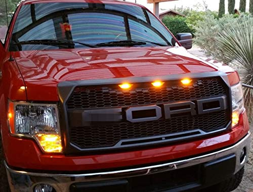 Front Ford Kit Conversion (Front Grille Fits 09-14 FORD F150 Raptor Style Grill Kits With Amber LED Light and Conversion Letter (Gloss Black))